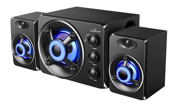 POWERTECH ηχεία Crystal sound PT-841 2.1 5W + 2x 3W 3.5mm μαύρα