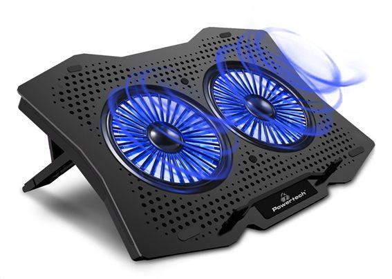 """POWERTECH Βάση & ψύξη laptop PT-929 έως 18"""" 2x 110mm fan LED μαύρο"""