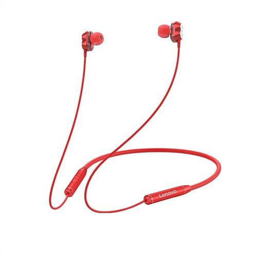 Lenovo Bluetooth Earphone (Double Coil)HE08 – Κόκκινο