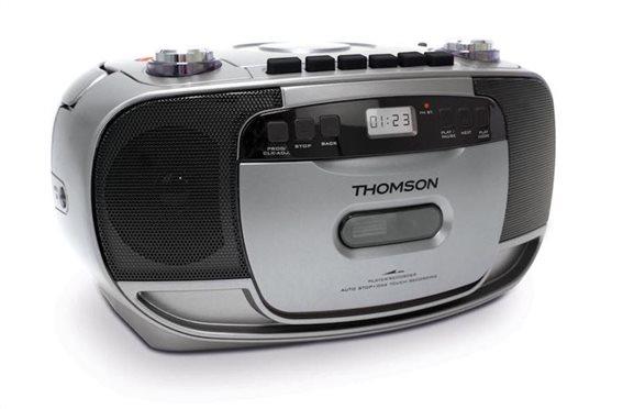 THOMSON Φορητό ηχοσύστημα RK203CD FM/CD/Tape/REC LCD ασημί