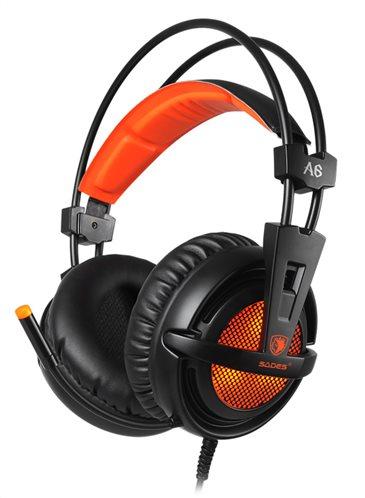 SADES Gaming Headset A6 multiplatform USB LED μαύρα