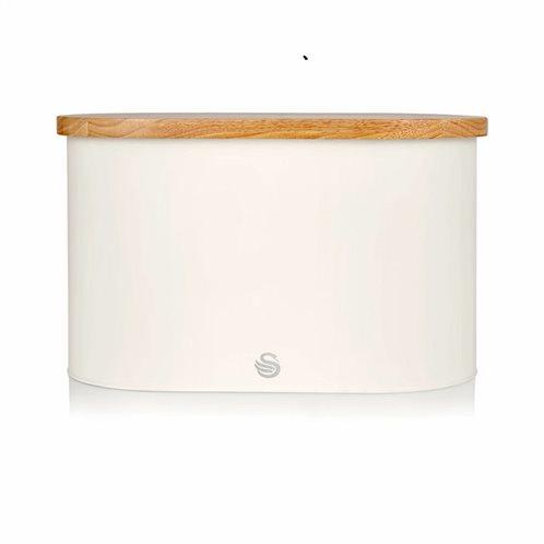 Swan Bread Bin with Wooden Lid – Άσπρο