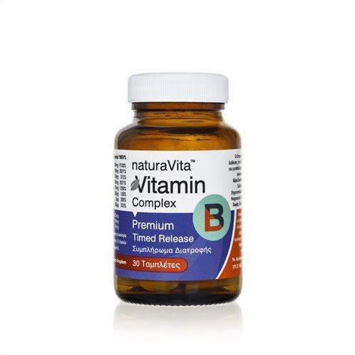 Νatura Vita Συμπλήρωμα Διατροφής Βιταμίνη B Complex Timed Realease 30 Ταμπλέτες