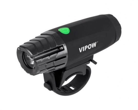 VIPOW εμπρόσθιο φως ποδηλάτου URZ0915 3W Toshiba LED μαύρο