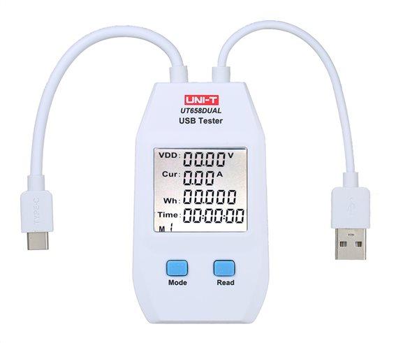 UNI-T USB συσκευή έλεγχου καλωδιώσεων UT658DUAL Type A Type C
