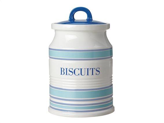 Maxwell & Williams Δοχείο Κεραμικό Biscuits 2lt Λευκό-Μπλε Coastal Stripes 2lt. Chef Du Monde