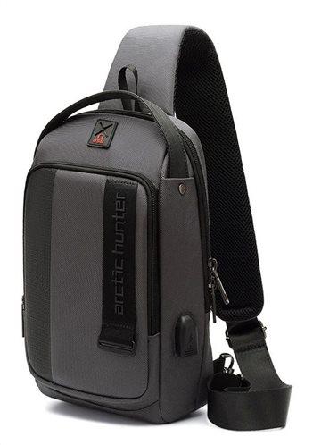 ARCTIC HUNTER Τσάντα Crossbody XB00100-GY USB αδιάβροχη γκρι